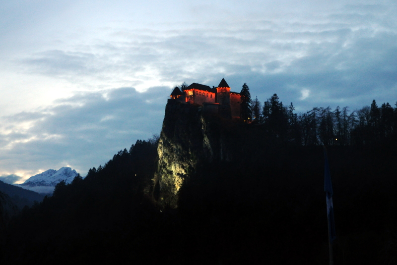 bled castle, sunset