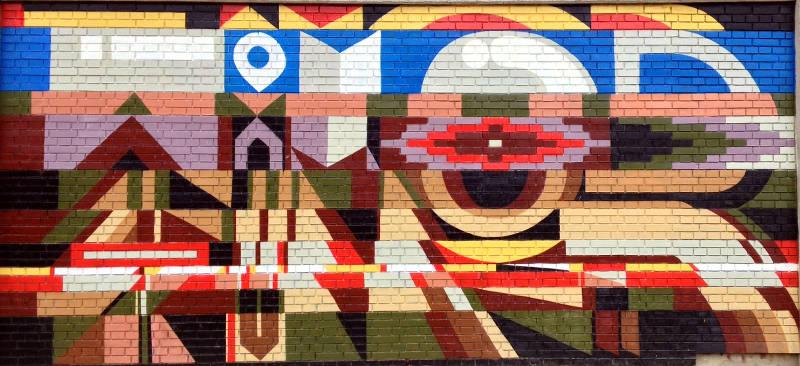 Southwest influenced street art at FDU in Belgrade