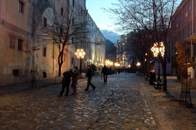Bohemian quarter in Belgrade at holiday time. This is Skadarlija Street.