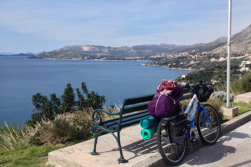 Taking a break while bicycle touring through southern Croatia