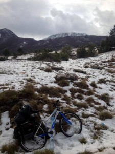 My bike in the snow on the Kotor mountain road
