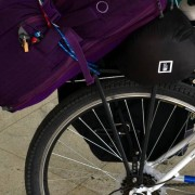 Packed for bicycle touring w/ pannier