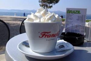 Enjoying hot cocoa in Zadar,Croatia