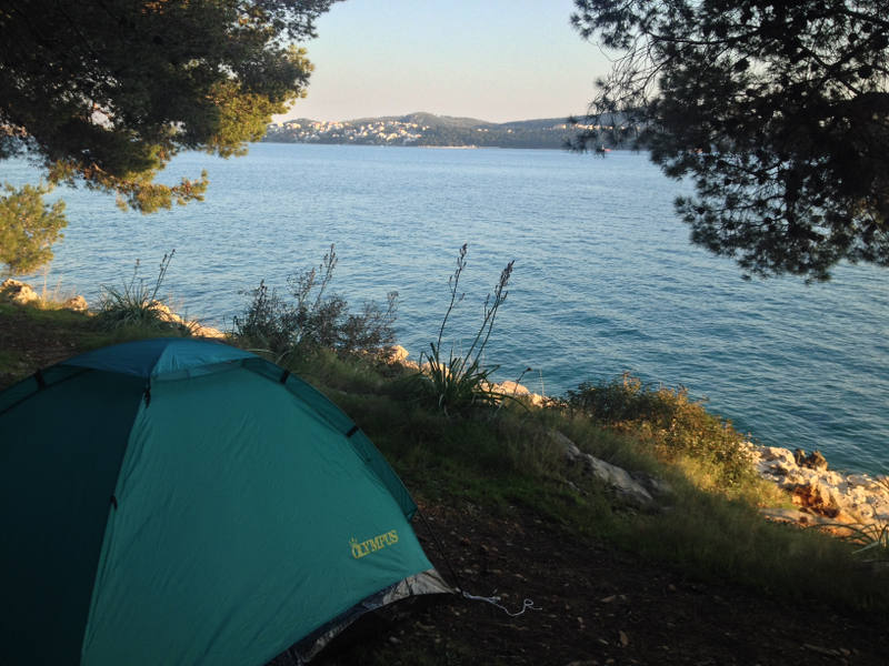 Wilderness camping during bicycle tour through Croatia