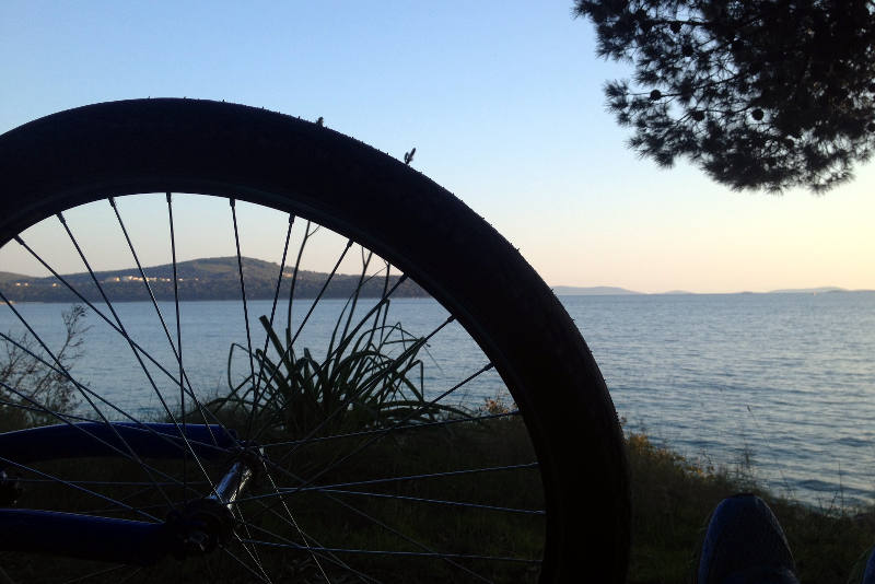 Wilderness camping north of Split, Croatia during bicycle tour