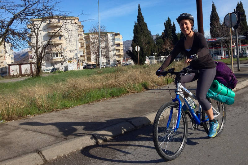 Cat launching out on her epic biking tour through South Europe