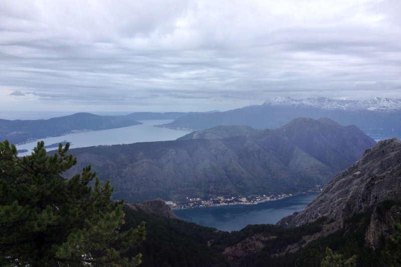 The view looking out from the peak of the Kotor Mountain Road