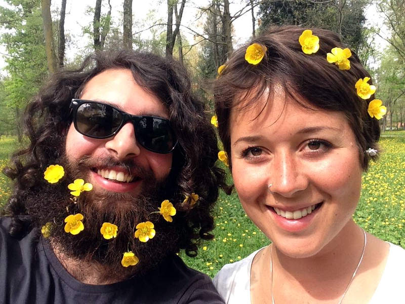 bicycle touring with flowers in our hair