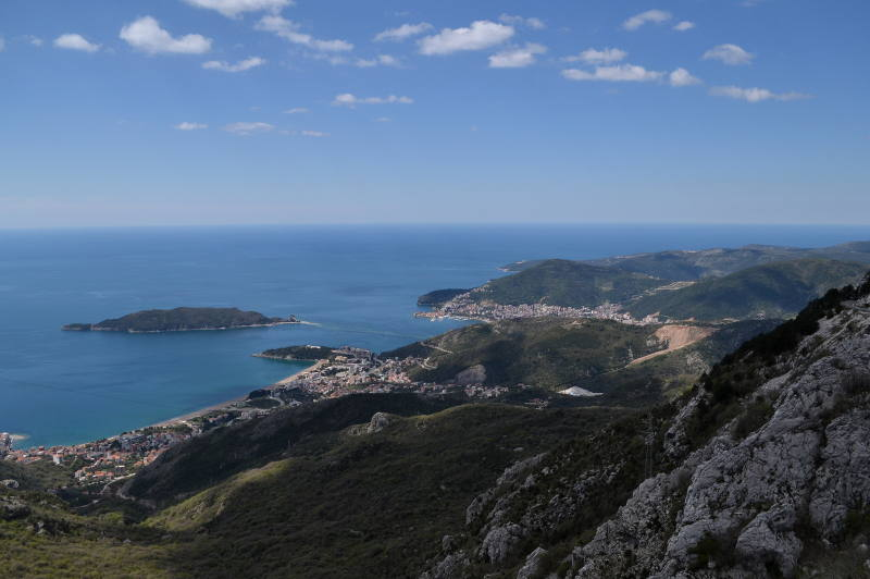 Looking down on Budva from Kosmac fortress - meanderbug