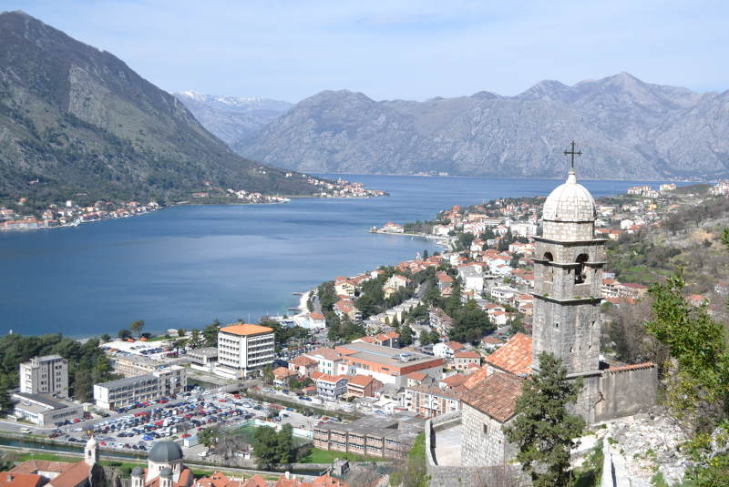 View of Kotor while heading up to St. John's Fortress