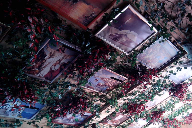 Art on ceiling in Porto Restaurant in Budva, Montenegro