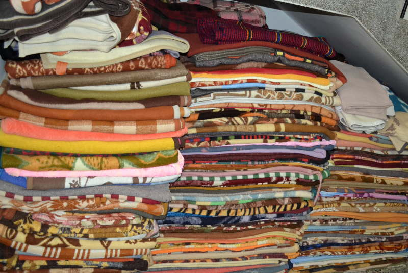 Blankets for sojourners at Ostrog Monastery - meanderbug
