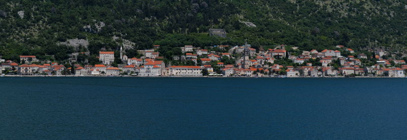 Coastline of Perast, Montenegro in Boka Bay