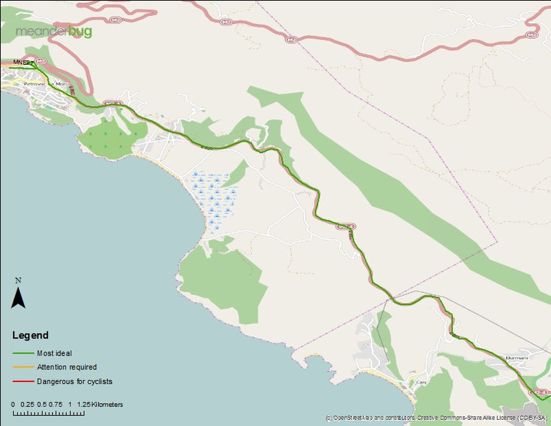 Petrovac to Bar bicycle touring map 2