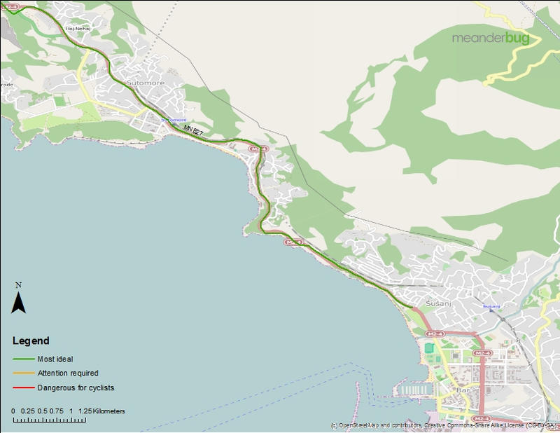Petrovac to Bar bicycle touring map