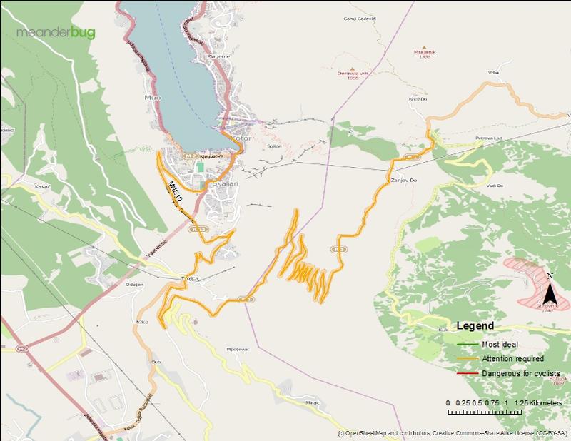 Kotor - Lovcen bicycle touring map