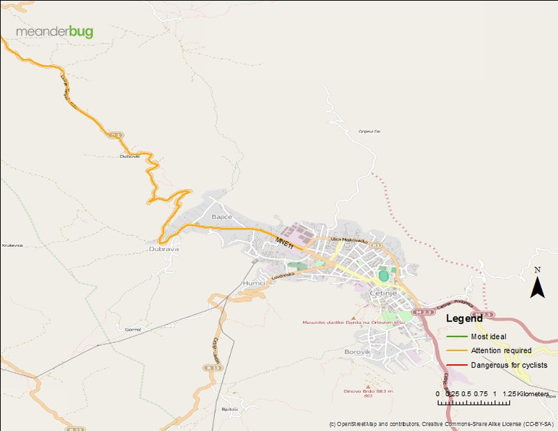 Cetinje - Lovcen bicycle touring map (1 of 2)