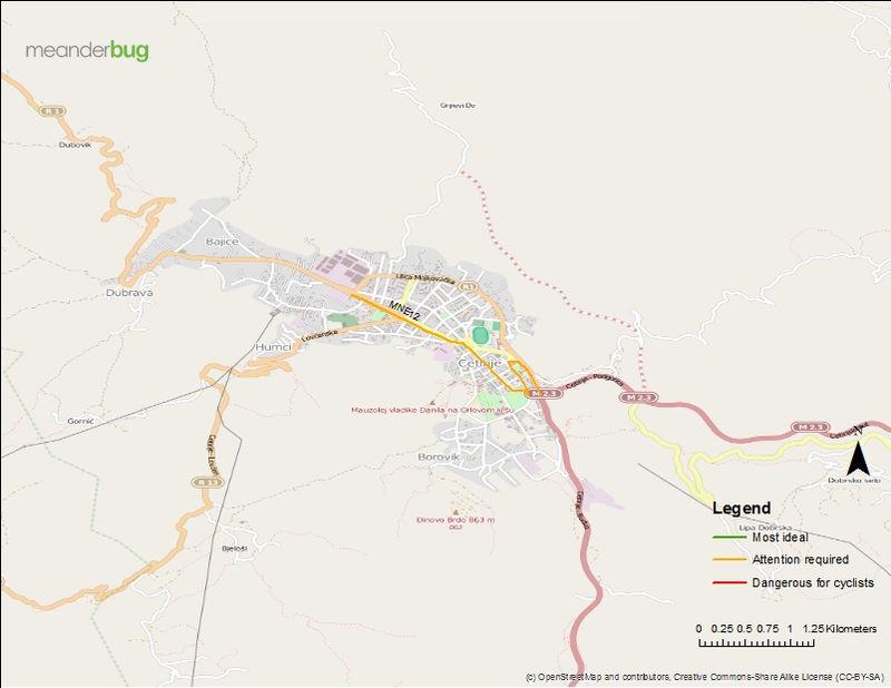 Cetinje bicycle touring map