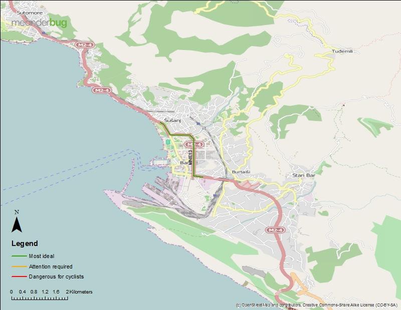 City of Bar, Montenegro bike touring map