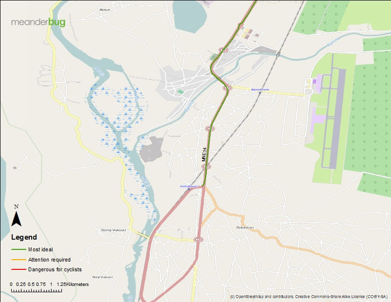 Podgorica - TGD airport bicycle touring map