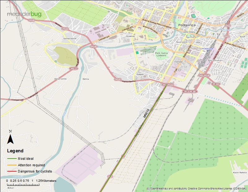 Podgorica to airport bicycle touring map (2 of 2)