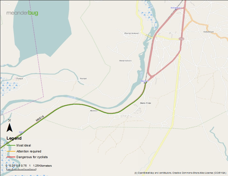 TGD airport to Virpazar bicycle touring map (1 of 2)