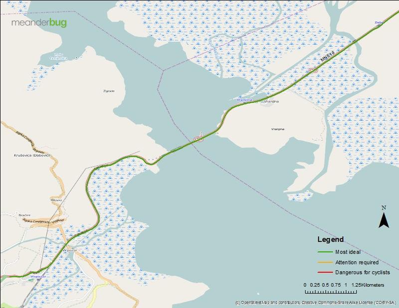 Podgorica airport to Virpazar bike touring map (2 of 2)