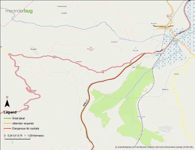 Sutomore bypass - bike touring map 1 of 2