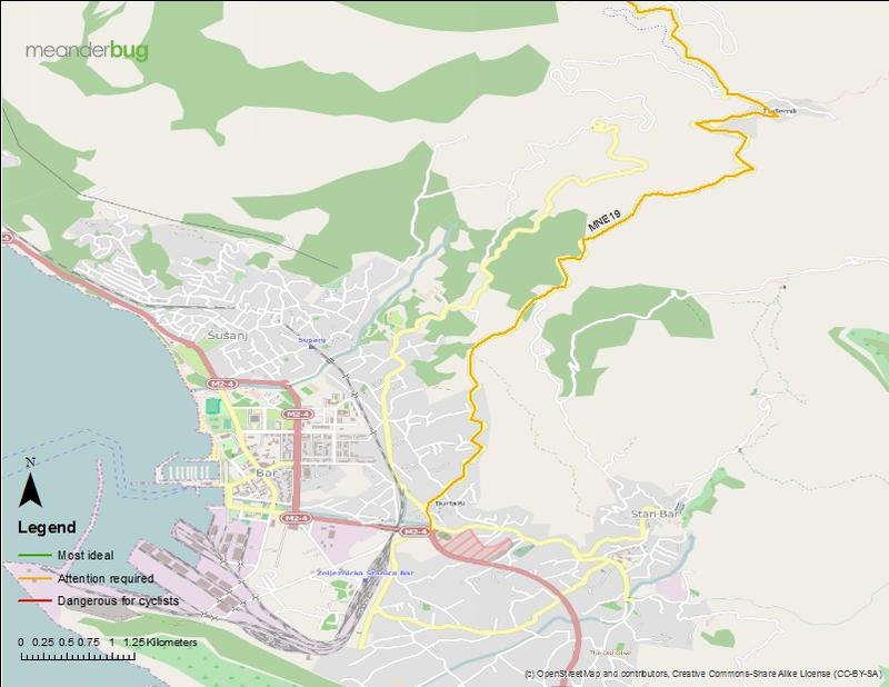 Bar - Virpazar bicycle touring map (1 of 3)