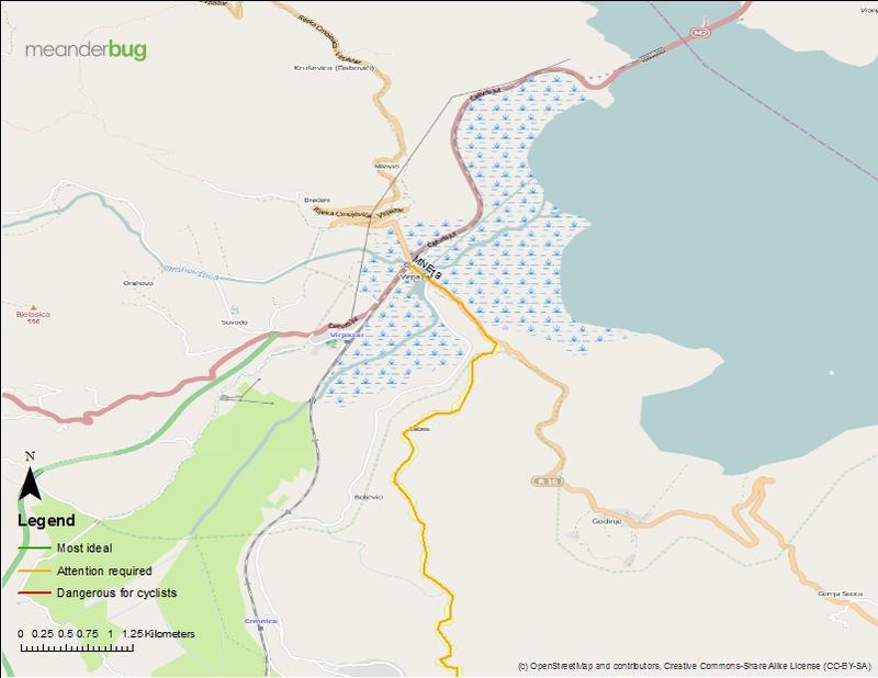 Old Bar to Virpazar touring map (3 of 3)