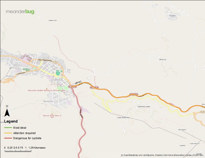 Cetinje - Podgorica bicycle touring map (1 of 4)