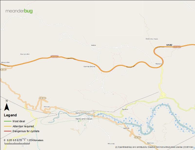 Cetinje - Podgorica bike touring map (2 of 4)