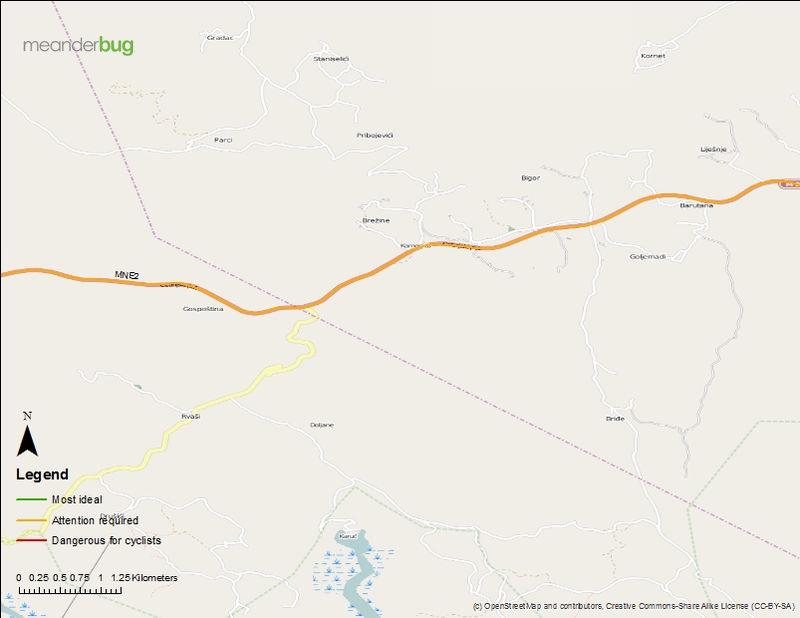 Cetinje - Pogorica touring map (3 of 4)