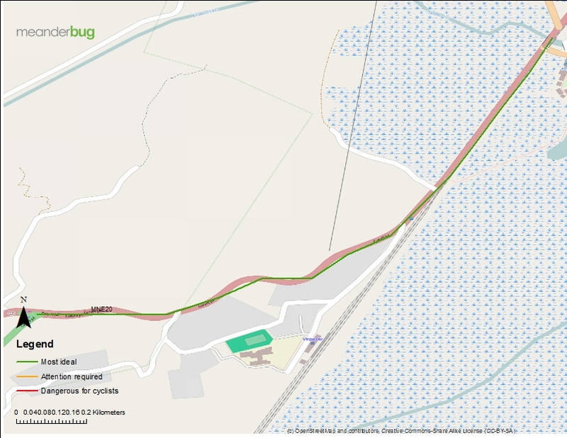 Virpazar - tunnel junction bicycle touring map