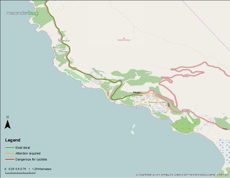 Budva - Petrovac bicycle touring map (1of 2)