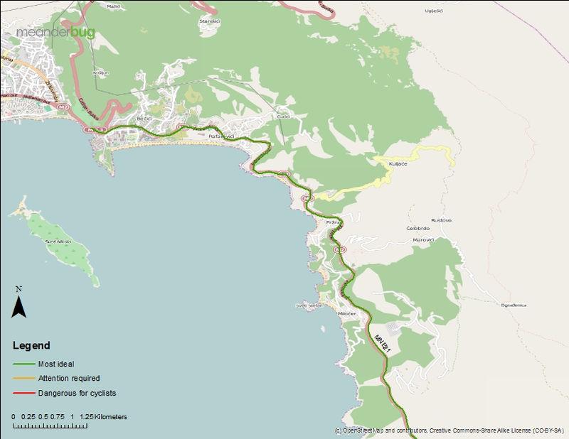 Budva to Petrovac bicycle touring map (2 of 2)