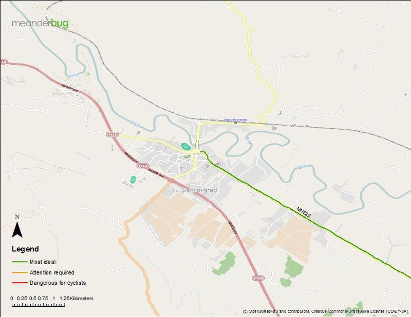 Danilovgrad - Podgorica bicycle touring map (1 of 3)