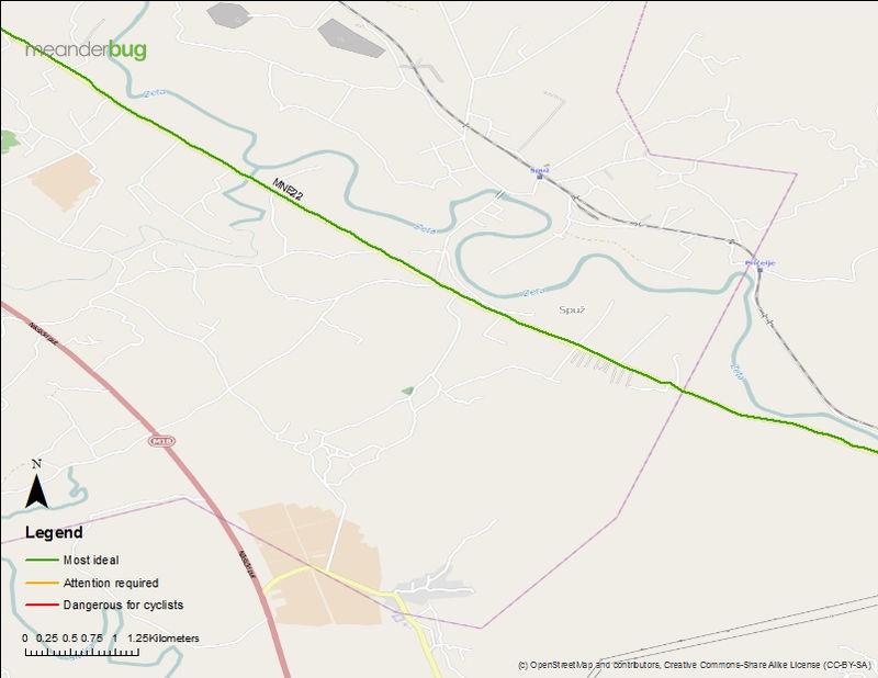 Danilovgrad - Podorica bicycle touring map (2 of 3)