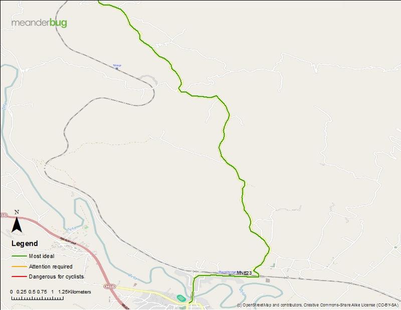 Danilovgrad - Ostrog bicycle touring map (1 of 2)