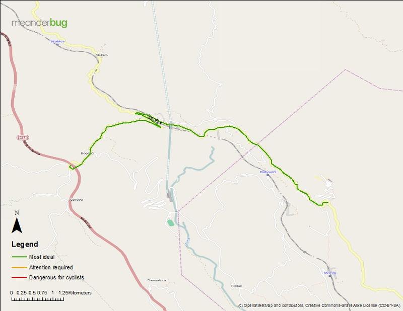 Niksic highway - Ostrog bicycle touring map