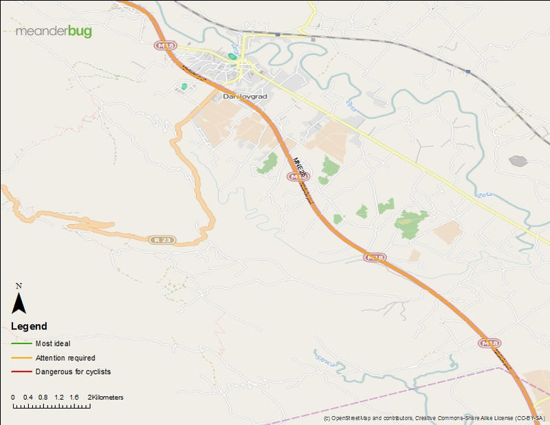 Ostrog turn off to Podgorica bicycle touring map (3 of 4)