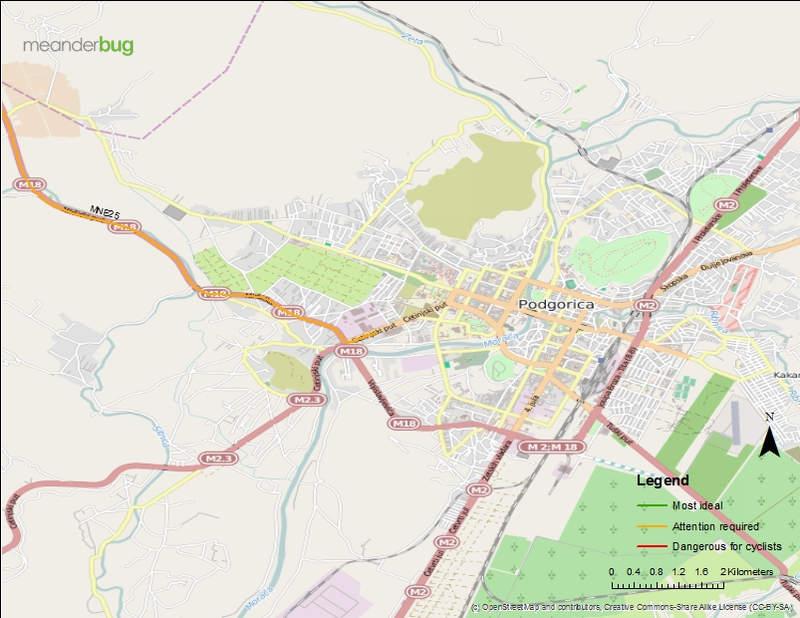 Niksic hwy to Podgorica bike touring map (4 of 4)