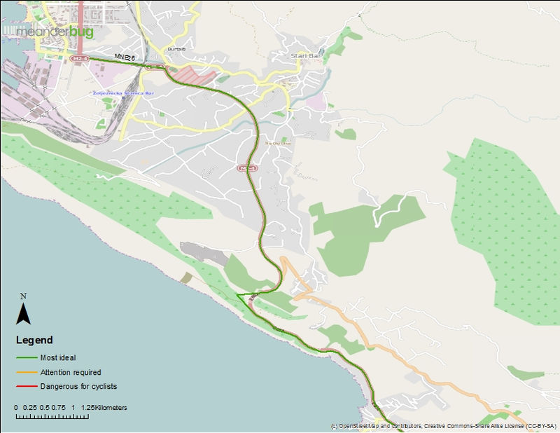 Bar - Ulcinj bicycle touring map (1 of 3)