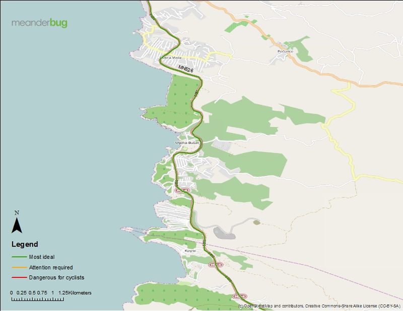 Bar - Ulcinj bike touring map (2 of 3)