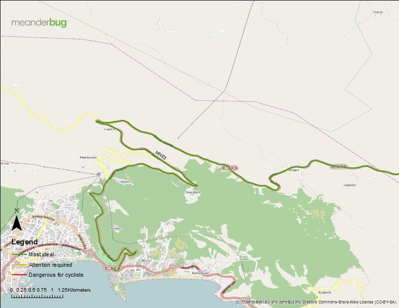 Budva - Cetinje bicycle touring map (1 of 3)