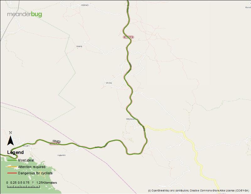 Budva - Cetinje bicycle touring map (2 of 3)