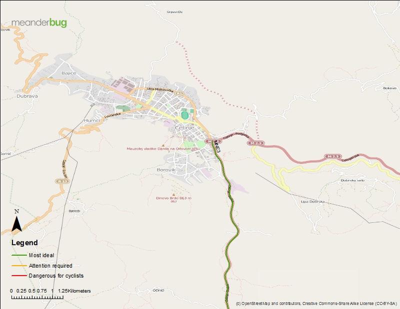 Budva - Cetinje bicycle touring map (3 of 3)