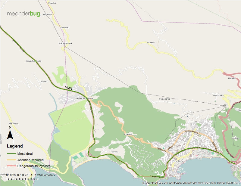Budva - Tivat bicycle touring map (1 of 2)