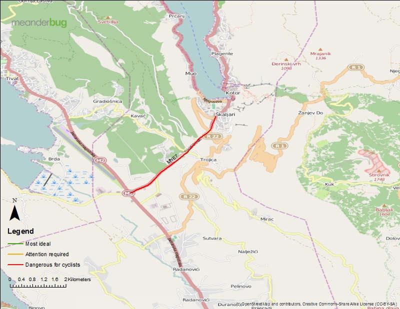 Kotor - Tivat - Montenegro bicycle touring tracks