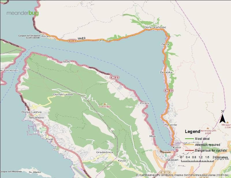 Kotor - Perast, Montenegro bicycle touring map